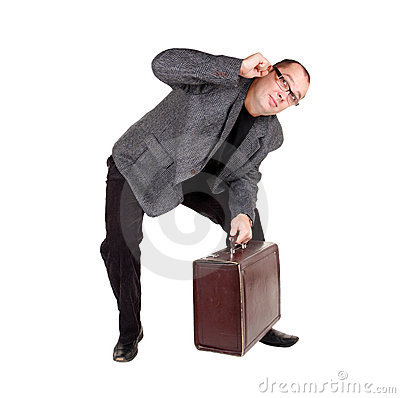 Businessman with brown suitcase