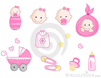 Baby girl icon set