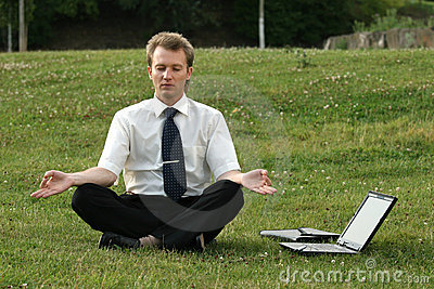 Businessman and yoga