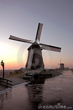 Ancient traditional windmills in the Netherlands