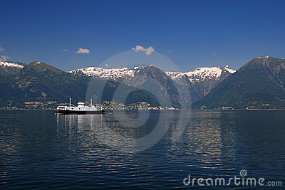 Crossing through Sognefjord on the ferry