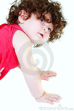 Cute toddler over white