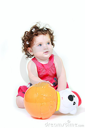Cute toddler with toy