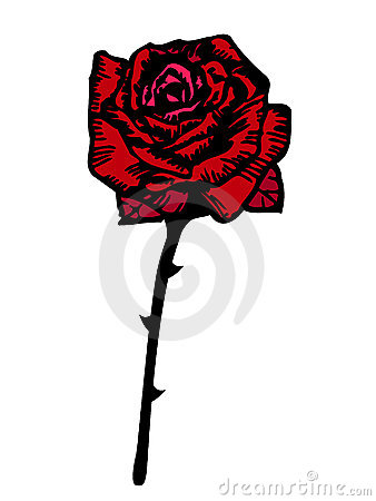 Vector red rose stylized