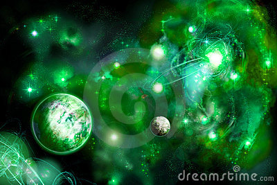 Green space with two planets