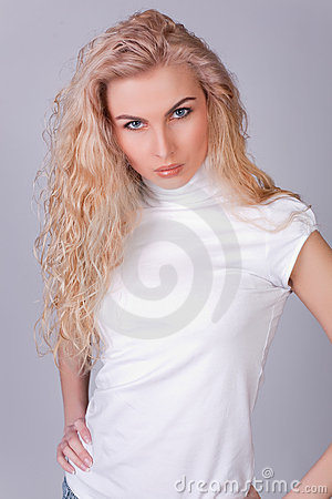 Sensual look of a long-haired girl