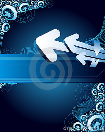 Blue abstract background with arrows