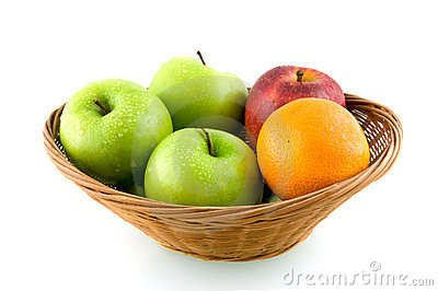 Wooden basket with mixed fruit
