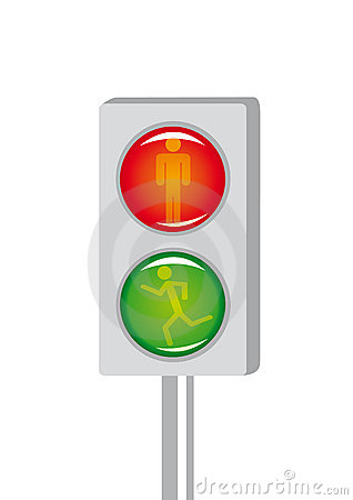 Cartoon light signal for pedestrian crossing