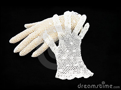 Vintage white lace gloves.