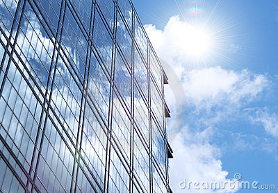Corporate Building Glass Wall with Sun Reflection