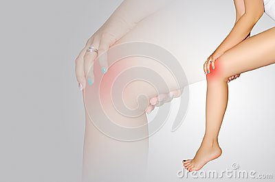 Joint pain. Pain in knee. Closeup of beautiful female leg with painful knees. Close-up of woman feeling joint pain, having health