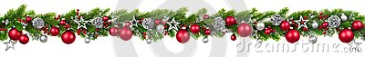Christmas border on white, hanging decorated garland