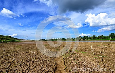 Drought parched ground.
