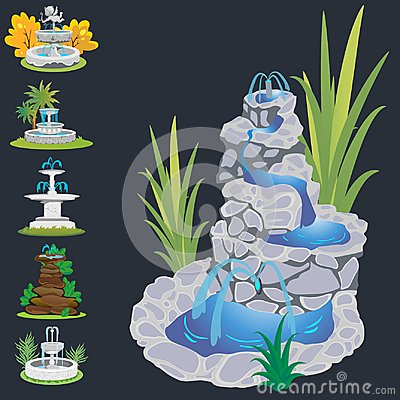 Set of outdoors fountain for gardening, spring and summer plants around garden waterfall, autumn back yard decorative