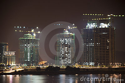 Buildings Under Construction at Night