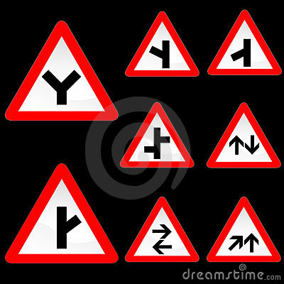 Eight Triangle Shape Red White Road Signs Set 2