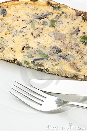 Omelet with mushroom and onion
