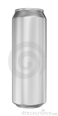 Aluminum can on white background
