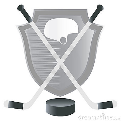 Hockey  emblem with shield.
