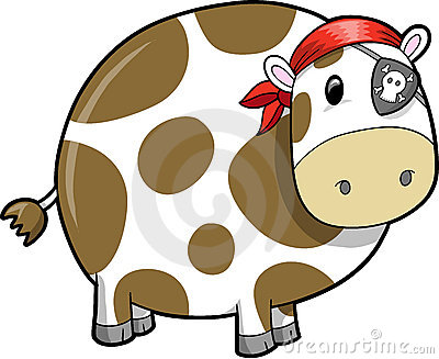 Pirate Cow Vector Illustration