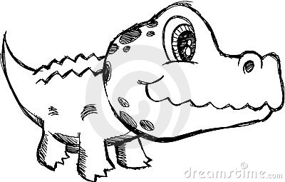 Sketchy Alligator Vector Illustration