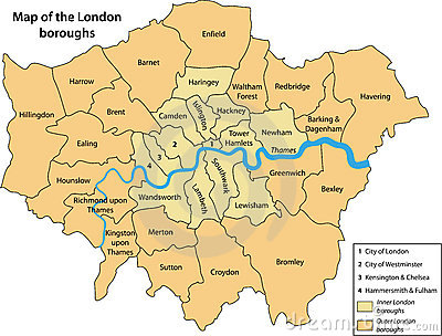Map of the London boroughs