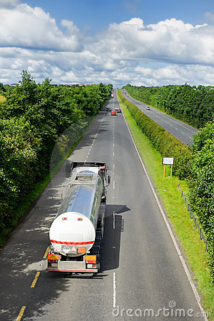 Truck with fuel tank on highway