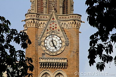 Distant view of a clock tower