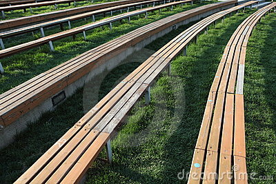 Wooden Long Seats in lines
