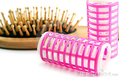 Hairbrush and hair-rollers