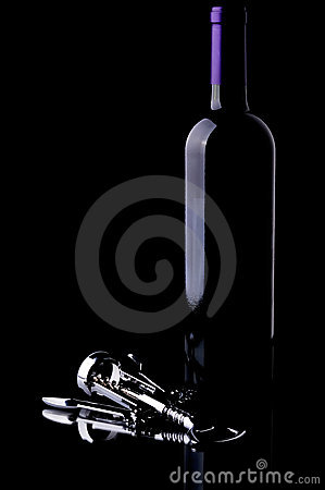 Wine Bottle and Chrome Corkscrew on Black