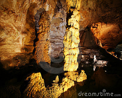 A Stalagmite and Column in Carlsbad Caverns