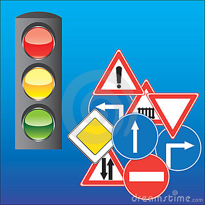 Road signs and traffic light