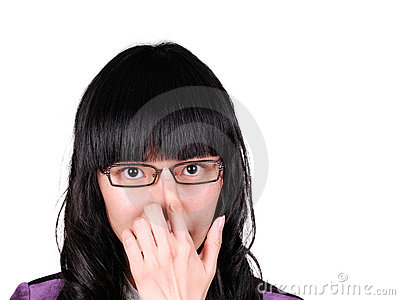 Woman Pushing Up Her Glasses