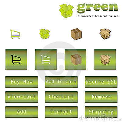 Green E-Commerce Button/Icon Set