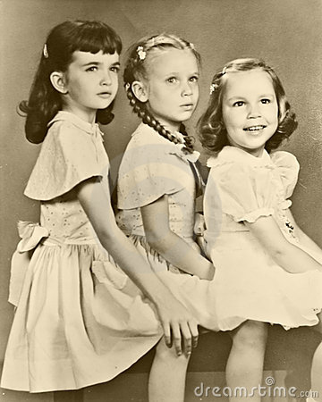 Retro Portrait of Three Girls