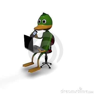 Duck in office with laptop and mobile phone