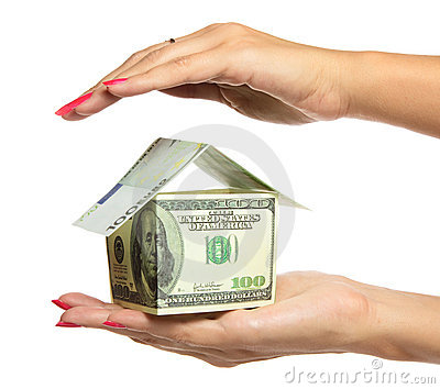 Woman hand Holding The house