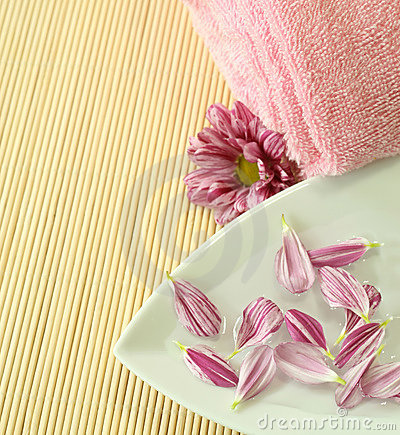 Pink towel and petals of flower.