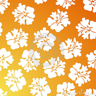 Hibiscus Pattern - Orange