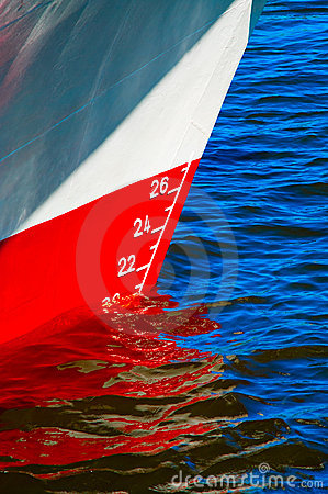 Red waterline on a ship