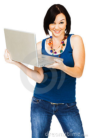 Portrait of woman holding laptop
