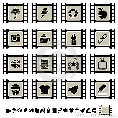 Film cell icons set 2