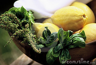 Lemons and basil