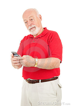 Senior Man - Texting Frustration