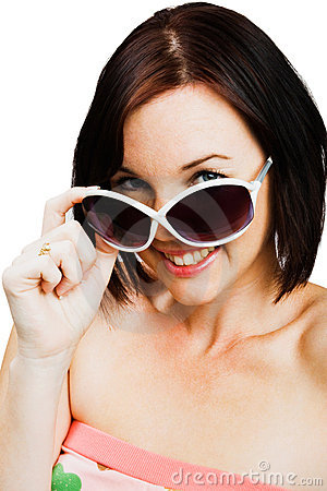Caucasian woman wearing sunglasses