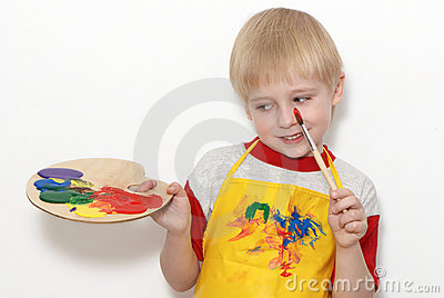 Little boy with brush and Artist's palette