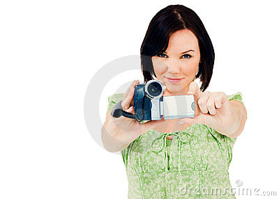 Happy woman holding home video camera