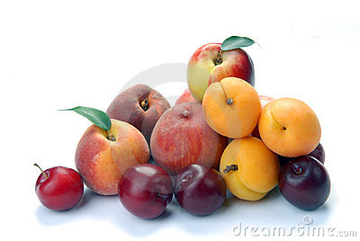Plum,  apricot and peach